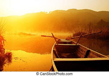 bateaux, matin, lac