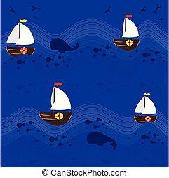 bateaux, modèle, 2, fond, mer