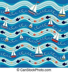 bateaux, modèle, fond, mer