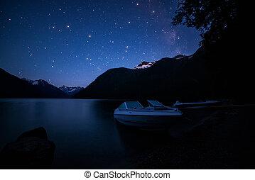 bateaux, nuit, lac, manière, laiteux