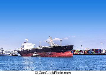 bateaux, pétrolier, remorqueur