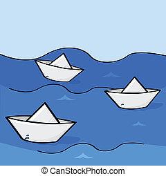 bateaux, papier