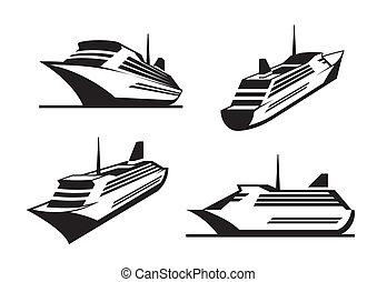 bateaux, perspective, croisière