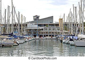 bateaux, port, barcelone