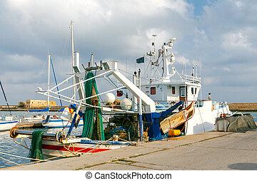 bateaux, port., peche