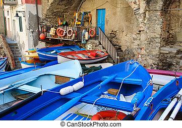 bateaux, riomaggiore, terre, italie, cinque