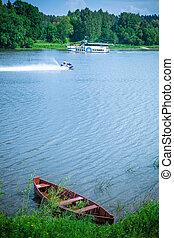 bateaux, rivière, ski, deux, jet