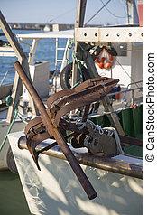 bateaux, -, rouillé, ancre, port de pêche