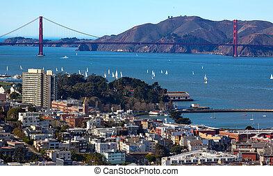 bateaux, san, nautisme, portail, doré, pont, francisco, californie