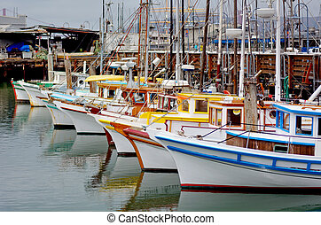 bateaux, san, quai, pêcheur, peche, francisco