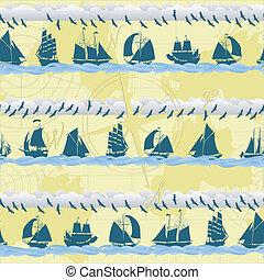 bateaux, seamless, fond