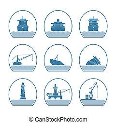 bateaux, silhouettes