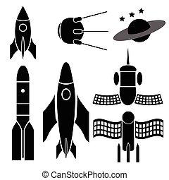 bateaux, silhouettes, espace