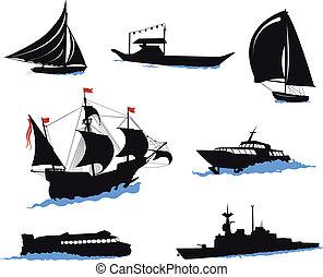 bateaux, silhouettes, -, yac, mer