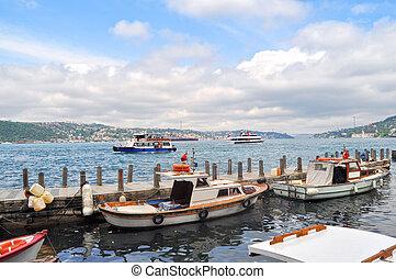 bateaux, sur, bosphore