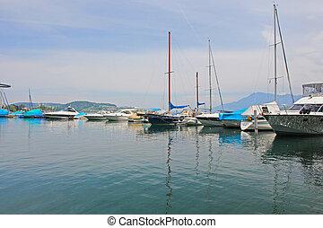 bateaux, sur, lac, thun., howk, switzerland.