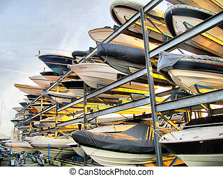 bateaux, terre, support stockage