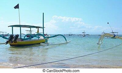 bateaux, touriste, traditionnel, passager, plage, bali, ...