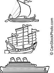 bateaux, trois, nautique