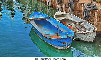 bateaux, vieux, jetée