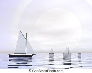 bateaux, -, voile, render, 3d