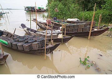 bateaux, ywe, pêche rivière, myanmar