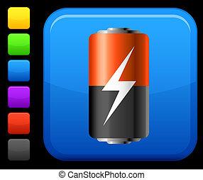batería, botón, cuadrado, icono, internet