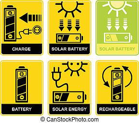 batería, carga, solar, recarga