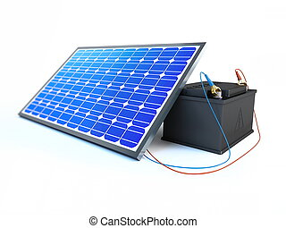 batería, cargos, panel solar