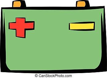 batería, coche, caricatura, icono