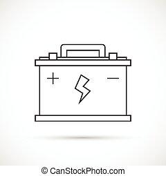 batería, coche, contorno, icono