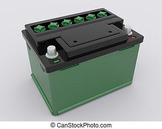 batería, coche, verde
