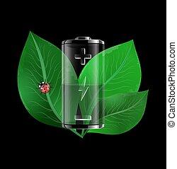 batería, con, hojas verdes