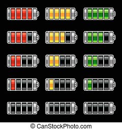 batería, energía, barra, nivel