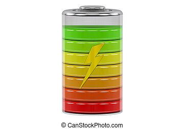 batería, indicadores, carga, nivel