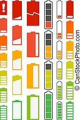 batería, indicadores, diferente, colección