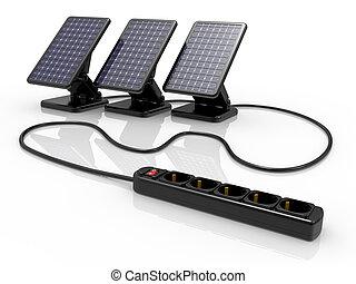 batería, panel solar