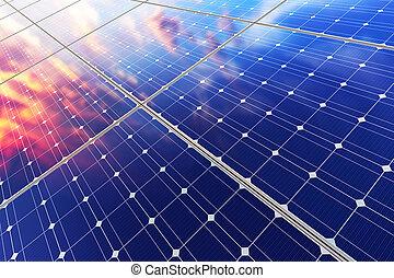 batería, paneles, eléctrico,  solar
