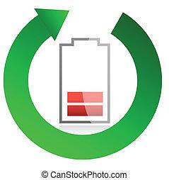 batería, reciclaje, concepto