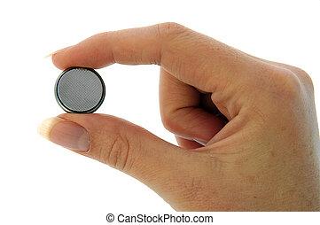 batería, -, reloj, (cr2025), pellizco, menos