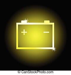 batería, símbolo, vector, ilustración