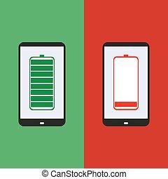 batería, smartphone, diseño, plano