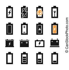 batería, un, icono