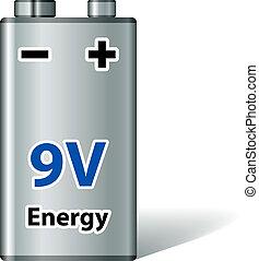 batería, vector, cuadrado, 9v