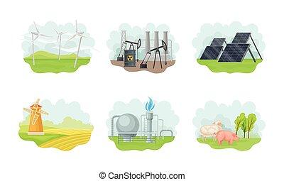 batería, vector, recursos, conjunto, célula, viento, solar, ...