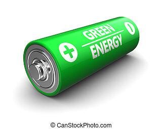 batería, verde