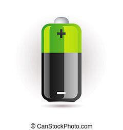 batería, verde, icono