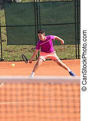 bater, bola tênis, jovem, jogador