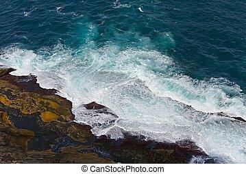 bater, costa, ondas