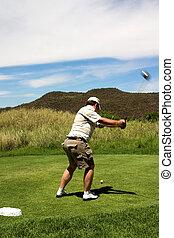 bater, golfer, ball.